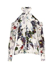 Erdem Aila Forget Me Not Print Silk Crepe Top White Multi