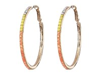 Guess Ombre Stone Hoop Earrings Gold Crystal Coral Earring