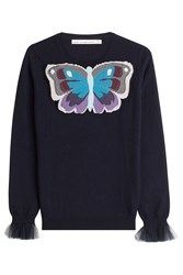 Mary Katrantzou Cashmere Pullover With Sheer Cuffs Blue