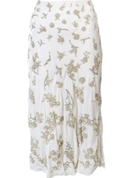 Brock Collection Embellished Straight Skirt White