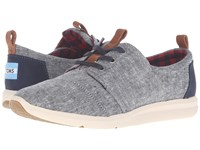 Toms Del Rey Sneaker Blue Chambray Women's Lace Up Casual Shoes
