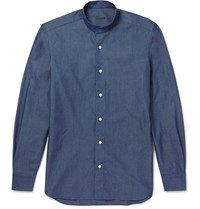 Caruso Grandad Collar Cotton Shirt Blue