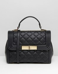 Aldo Quilted Top Handle Tote Bag Black