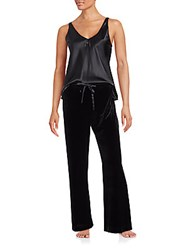 Oscar De La Renta V Neck Tank Top And Straight Leg Pants Set Black