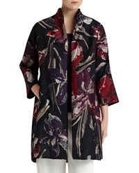 Lafayette 148 New York Mary Floral Jacquard Topper Coat Black Mult