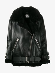 Acne Studios Velocite Leather And Shearling Lined Jacket Black