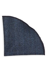 Alexander Olch Men's 'Gable' Herringbone Wool Pocket Round Blue