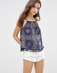 Influence Print Tassle Top Blue