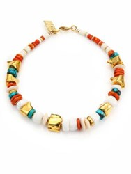 Lizzie Fortunato Seaside Turquoise Coral And Bone Beaded Necklace Coral Multi