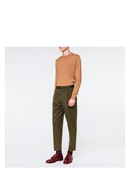 Paul Smith Men's Khaki Cotton Linen Twill Tapered Trousers Green
