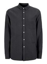 Topman Washed Black Crepe Textured Casual Shirt