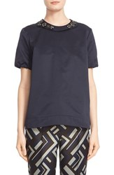 Women's Max Mara 'Reus' Short Sleeve Top With Removable Embellished Collar