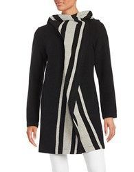 Vince Camuto Striped Hooded Wool Coat Black White