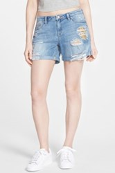 Dittos 'Tommy' Distressed Denim Shorts Juniors Blue
