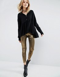 Mango Pewter Leggings Gold