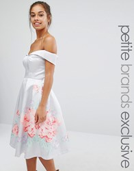 Chi Chi Petite London Full Prom Sateen Bardot Dress With Floral Boarder Grey Floral