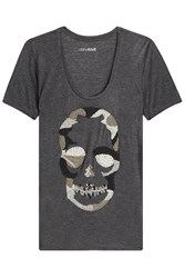 Zadig And Voltaire Embellished Camo Skull T Shirt Grey