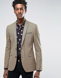 Asos Super Skinny Blazer In Camel And Black Check Camel Tan