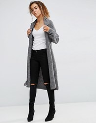 Qed London Chunky Knit Longline Cardigan With Tassel Detail Grey