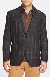 Kroon 'The Edge' Windowpane Two Button Sport Coat Black