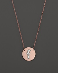Jane Basch 14K Rose Gold Circle Disc Pendant Necklace With Diamond Initial 16 F