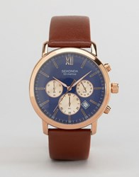 Sekonda Chronograph Brown Leather Watch With Blue Dial Exclusive To Asos Black