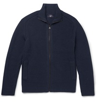 Dunhill Ribbed Merino Wool Zip Up Cardigan Blue