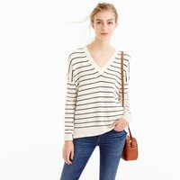 J.Crew Striped V Neck Sweater In Cotton Merino Wool