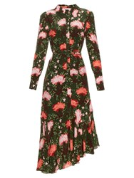 Erdem Rhea Carnation Print Silk Crepe Shirtdress Green Print