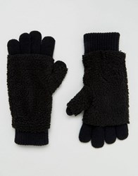 Asos Gloves With Borg Overlay In Black Black