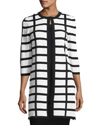 Ming Wang Grid Print Long Knit Jacket Wtn