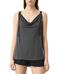 Allsaints Carli Cowl Neck Tank Washed Black