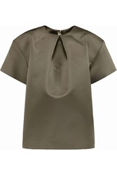 Rochas Pleated Satin Top Green