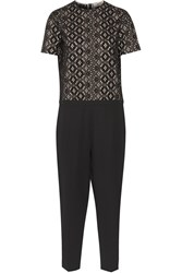 N 21 Broderie Anglaise Cotton And Ponte Jumpsuit Black