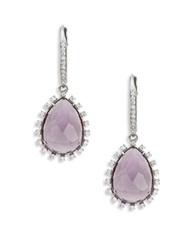 Nadri Amethyst Cubic Zirconia And Sterling Silver Teardrop Earrings Purple