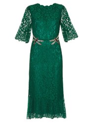 Dolce And Gabbana Cordonetto Lace Embellished Dress Green