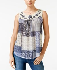 Jolt Juniors' Printed Embroidered Tank Top Knockout Navy