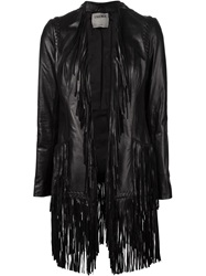 L'agence Fringe Hem Long Jacket Black