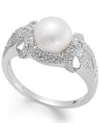 Macy's Cultured Freshwater Pearl 7 1 2Mm And Diamond Accent Ring In Sterling Silver