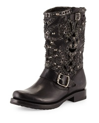 Veronica Studded Laser Cut Leather Boot Black Frye