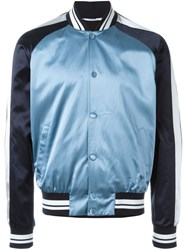 Valentino Star Studded Patch Bomber Jacket Blue