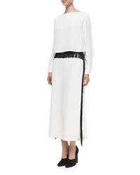 Derek Lam Long Sleeve Column Gown W Fringe Trim