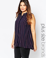 New Look Inspire Sleeveless Striped Shirt Bluepattern