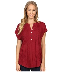 Lucky Brand Embroidered Top Tibetan Red Women's Clothing