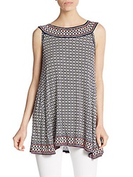 Max Studio Printed Jersey Trapeze Tunic Navy Print