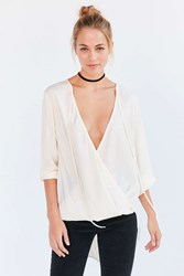Kimchi And Blue Bianca Tie Neck Surplice Blouse White