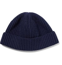 Lanvin Ribbed Wool Beanie Navy