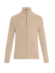 Bottega Veneta Leather Patch Cotton Blend Cardigan