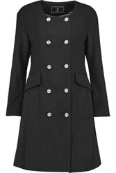 Goen J Pleated Wool And Cashmere Blend Coat Black