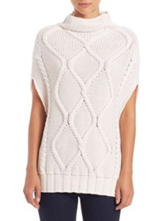 Eleventy Cable Knit Turtleneck Sweater White